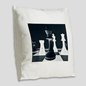 Master Chess Piece Burlap Throw Pillow