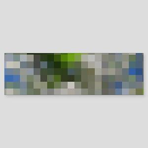 small colored checks in gray, blue Bumper Sticker