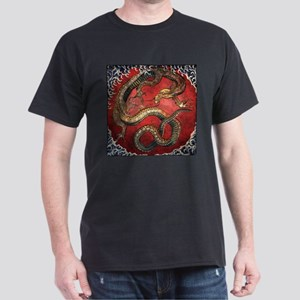 Hokusai Red Water Dragon - Dark T-Shirt
