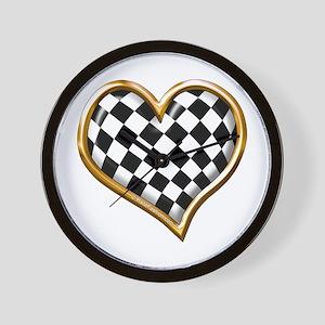Racing Heart Gold Wall Clock