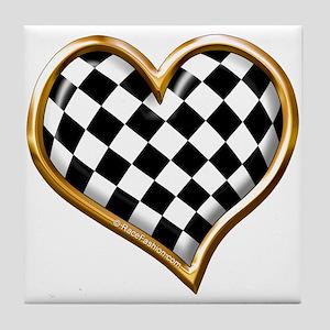 Racing Heart Gold Tile Coaster