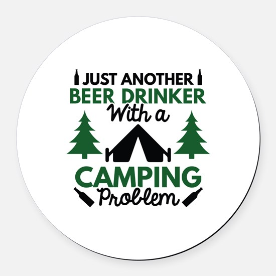 Beer Drinker Camping Round Car Magnet