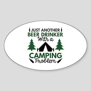 Beer Drinker Camping Sticker (Oval)