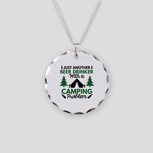 Beer Drinker Camping Necklace Circle Charm