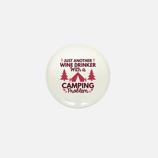 Wine Drinker Camping Mini Button