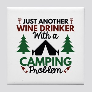 Wine Drinker Camping Tile Coaster