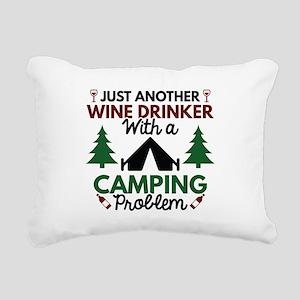 Wine Drinker Camping Rectangular Canvas Pillow