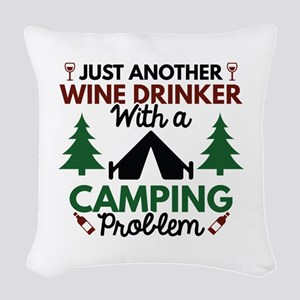 Wine Drinker Camping Woven Throw Pillow