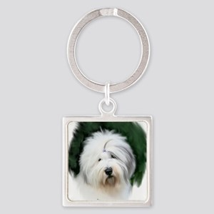 old english sheepdog portrait Keychains