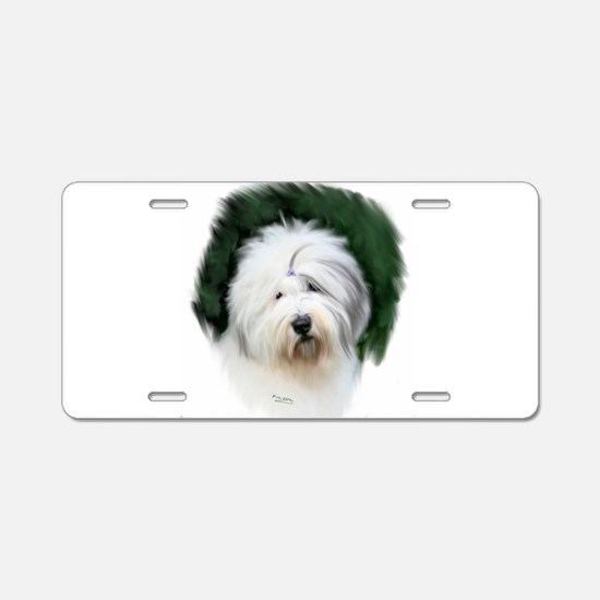 old english sheepdog portrait Aluminum License Pla