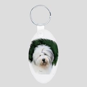 old english sheepdog portrait Keychains