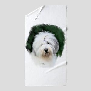 old english sheepdog portrait Beach Towel