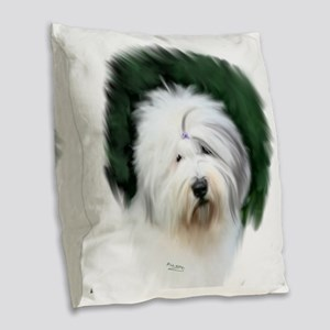 old english sheepdog portrait Burlap Throw Pillow