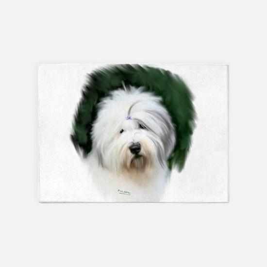 old english sheepdog portrait 5'x7'Area Rug