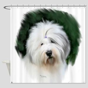 old english sheepdog portrait Shower Curtain
