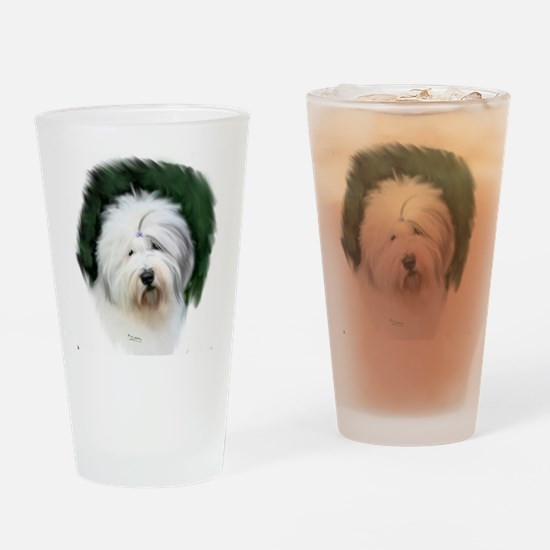 old english sheepdog portrait Drinking Glass