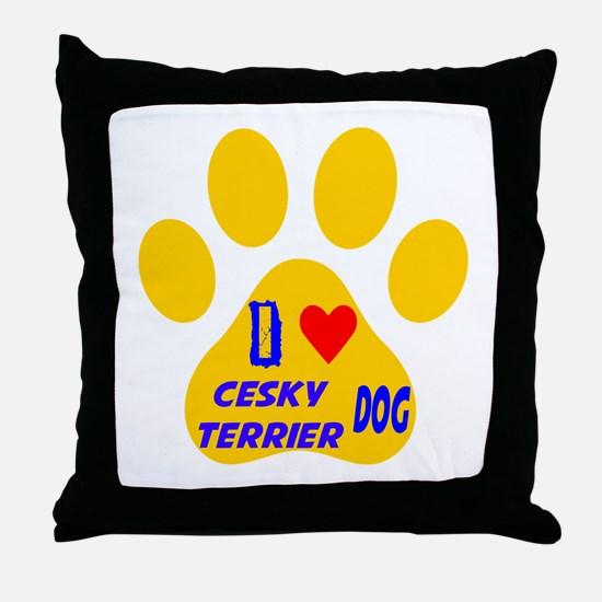 I Love Cesky Terrier Dog Throw Pillow