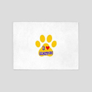 I Love Bullmastiff Dog 5'x7'Area Rug