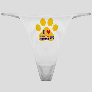 I Love Bracco Italiano Dog Classic Thong