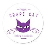 Grape Cat Round Car Magnet