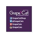 Grape Cat Square Sticker 3