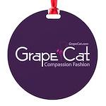 Grape Cat Round Ornament