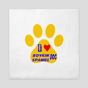 I Love Boykin Spaniel Dog Queen Duvet