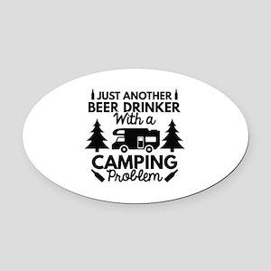 Beer Drinker Camping Oval Car Magnet
