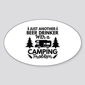 Beer Drinker Camping Sticker (Oval)