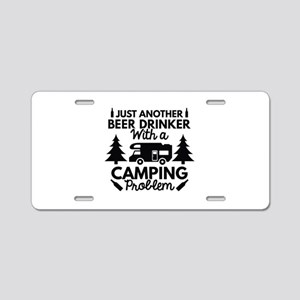 Beer Drinker Camping Aluminum License Plate