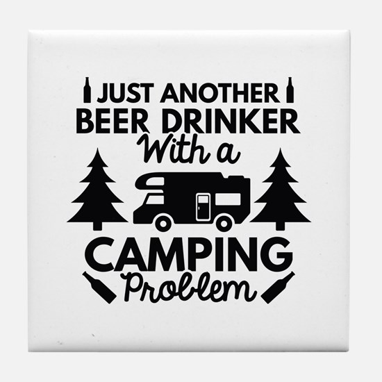 Beer Drinker Camping Tile Coaster