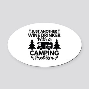 Wine Drinker Camping Oval Car Magnet