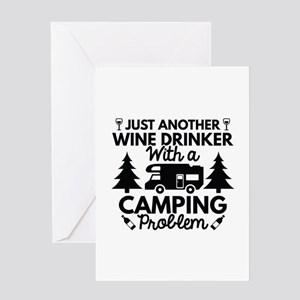 Wine Drinker Camping Greeting Card
