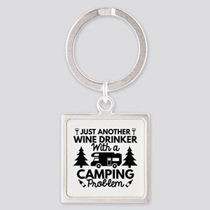 Wine Drinker Camping Square Keychain