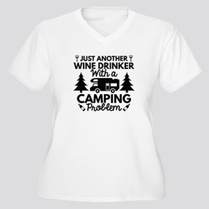 Wine Drinker Camping Women's Plus Size V-Neck T-Sh