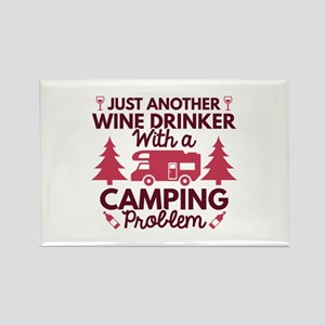 Wine Drinker Camping Rectangle Magnet