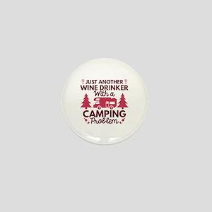 Wine Drinker Camping Mini Button