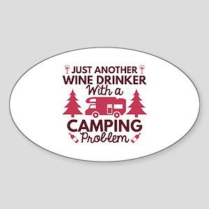 Wine Drinker Camping Sticker (Oval)