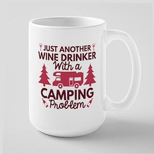 Wine Drinker Camping Large Mug
