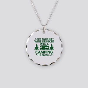 Wine Drinker Camping Necklace Circle Charm