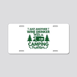 Wine Drinker Camping Aluminum License Plate