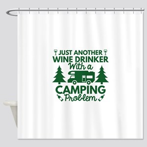 Wine Drinker Camping Shower Curtain
