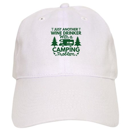Wine Drinker Camping Baseball Cap by VectorPlanet bc466cf06d7