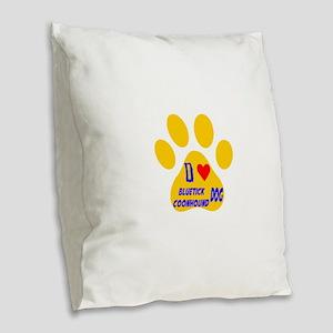 I Love Bluetick Coonhound Dog Burlap Throw Pillow