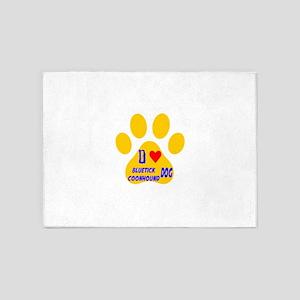 I Love Bluetick Coonhound Dog 5'x7'Area Rug