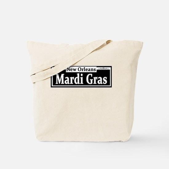 Mardi Gras Street Sign Tote Bag