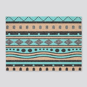 Peach And Turquoise Tribal Pattern 5'x7'Area Rug