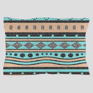 Peach And Turquoise Tribal Pattern Pillow Case