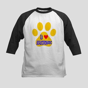I Love Beauceron Dog Kids Baseball Jersey