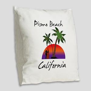 Pismo Beach Burlap Throw Pillow